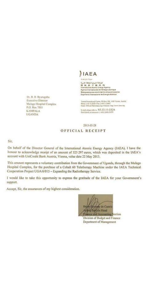 IAEA Mulago Receipt