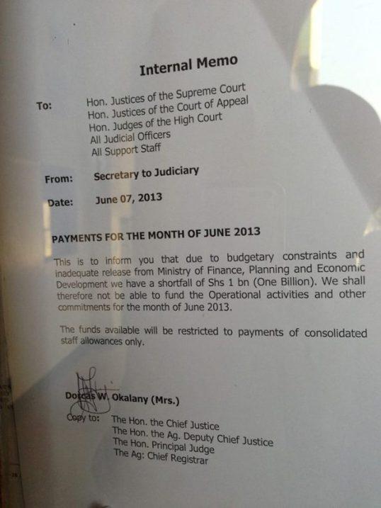 Internal Memo Uganda Parliament 2013