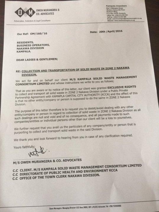 KCCA 20.04.2016 Letter