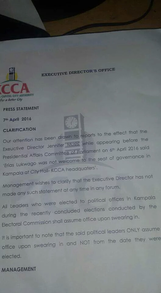 KCCA Press Statement 07.04.2016