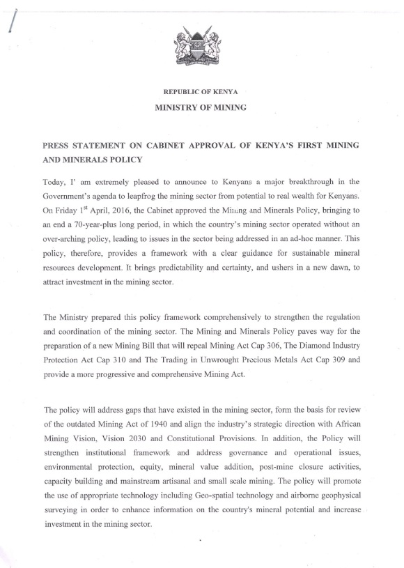 Kenya Mining Policy P1