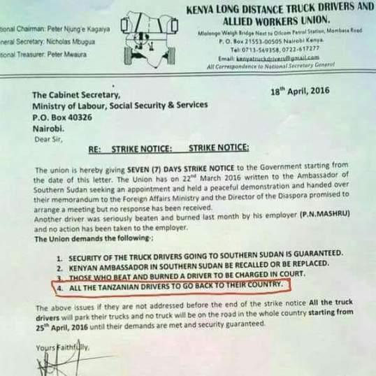Kenya Strike Letter April 2016