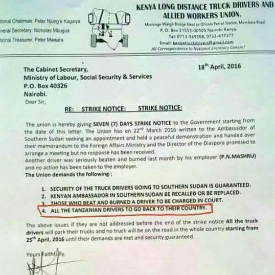 Kenya Strike Letter April 2016