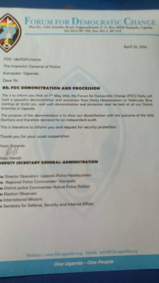 Letter to IGP Kayihura 5th May 2016