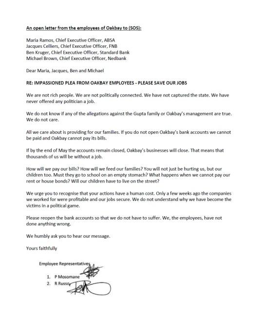 Oakbay Employee Letter 20.04.2016