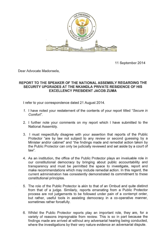 RSA Zuma to Thuli Letter 2014 P1