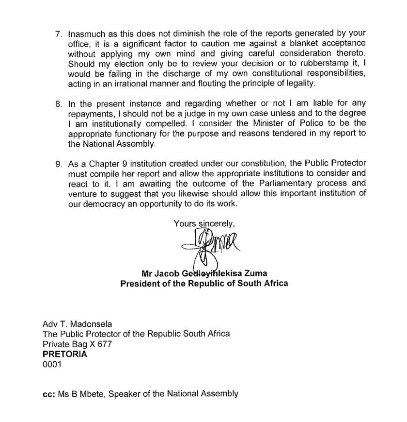 RSA Zuma to Thuli Letter 2014 P2