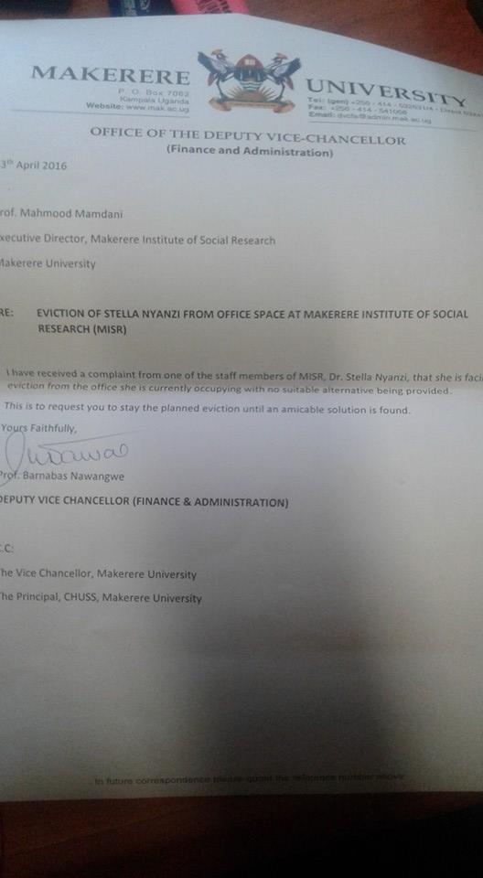 Stella Makerere Letter 1. 2016