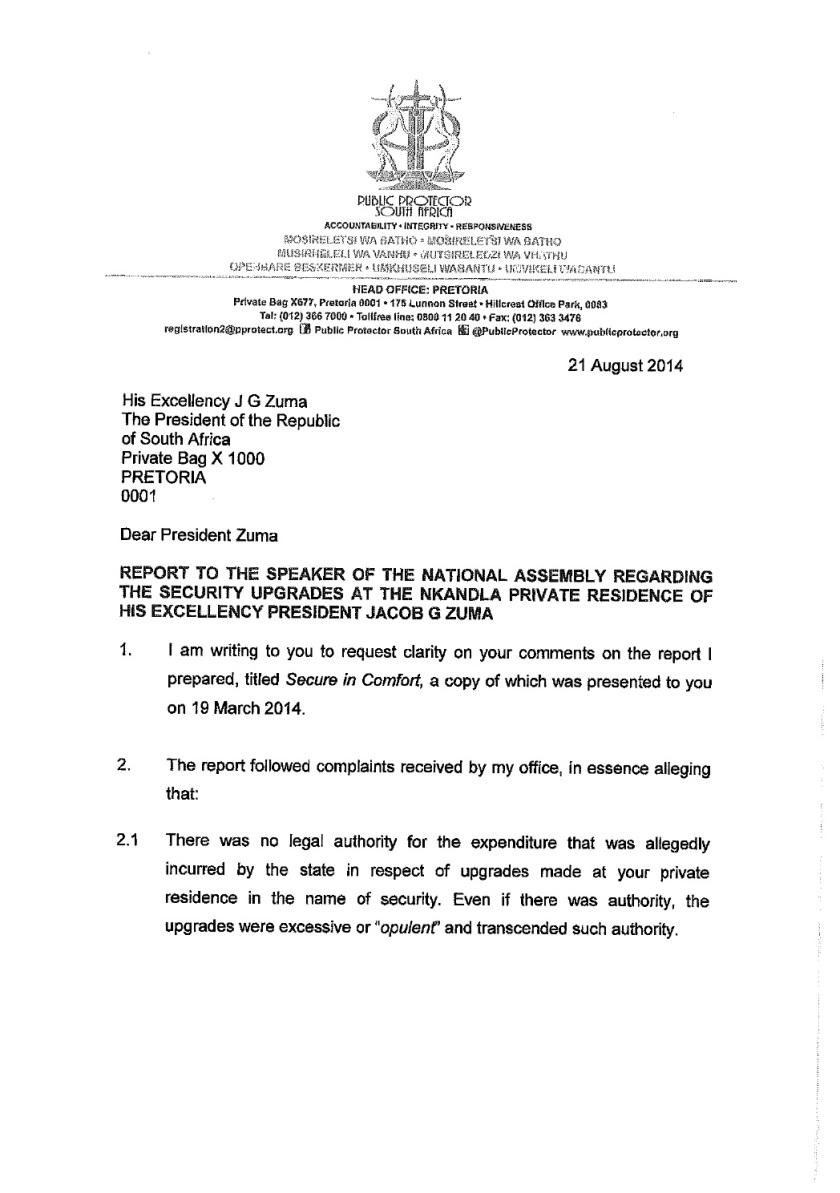 Thuli Mandsola to Zuma Letter 2014 P1