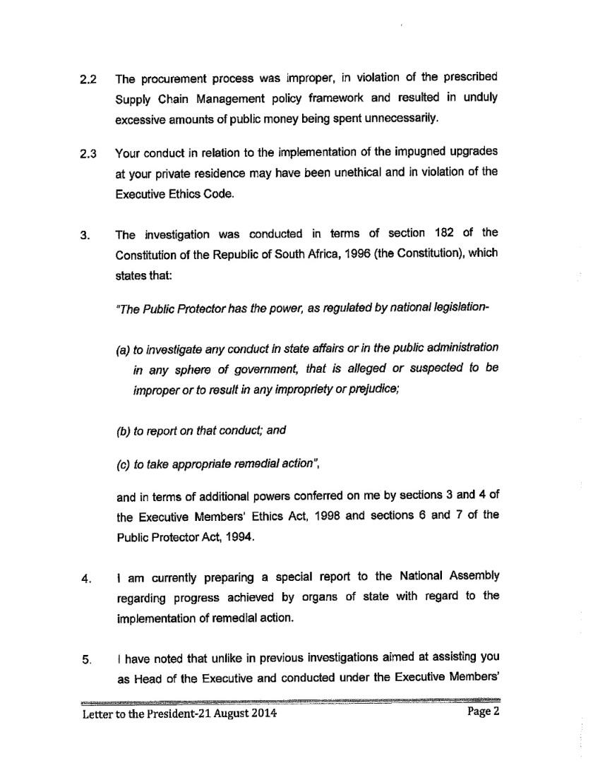 Thuli Mandsola to Zuma Letter 2014 P2