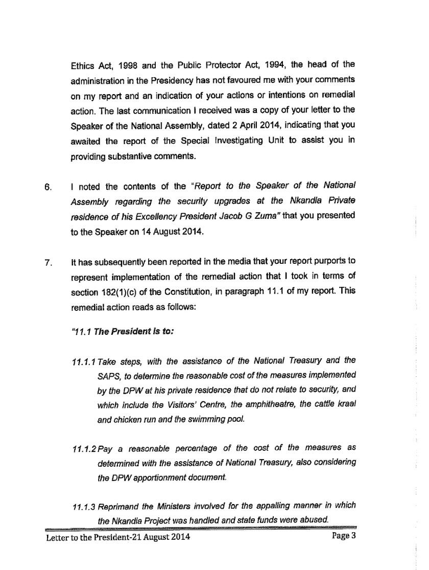Thuli Mandsola to Zuma Letter 2014 P3