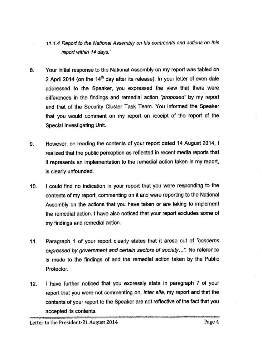 Thuli Mandsola to Zuma Letter 2014 P4