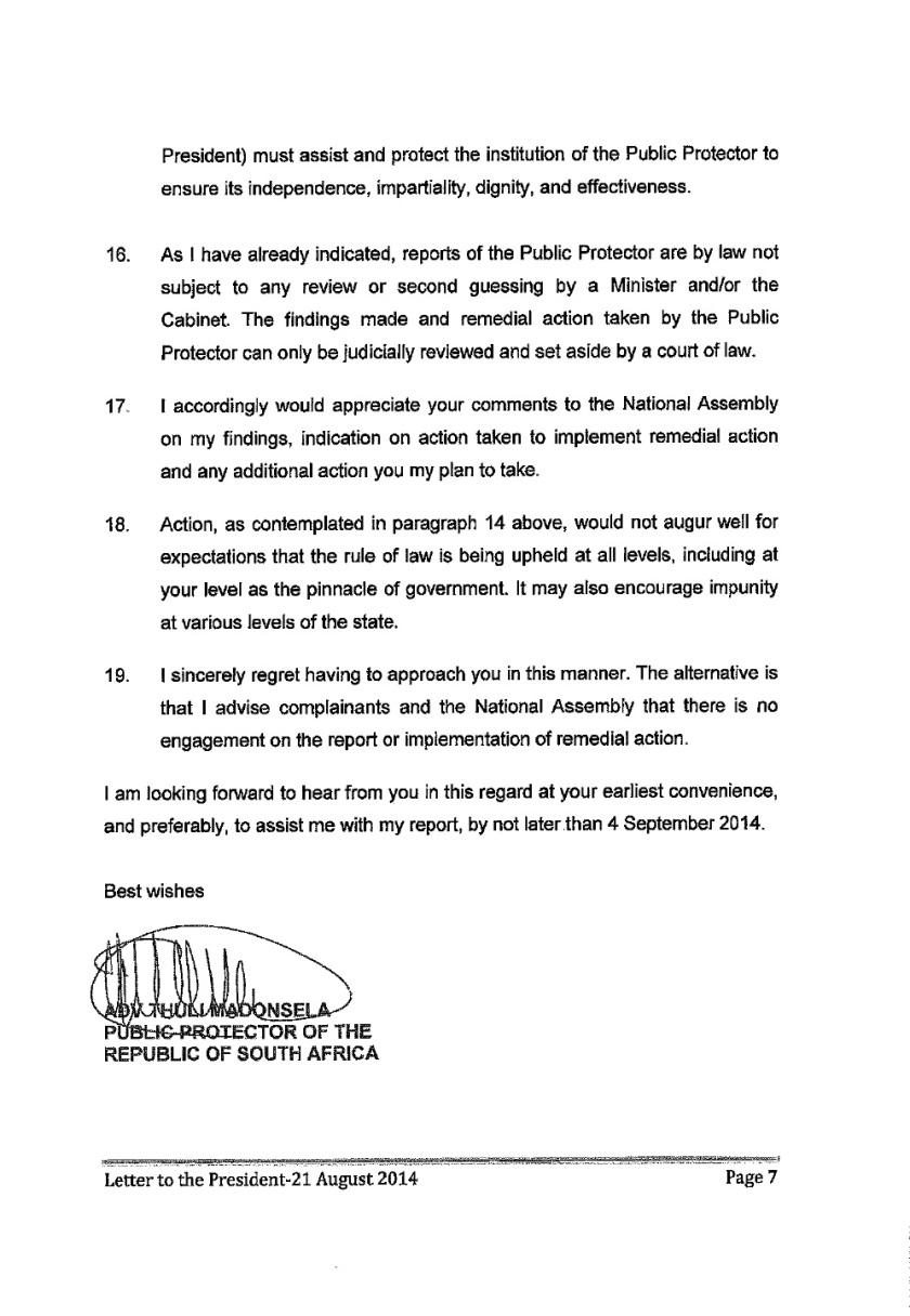 Thuli Mandsola to Zuma Letter 2014 P7
