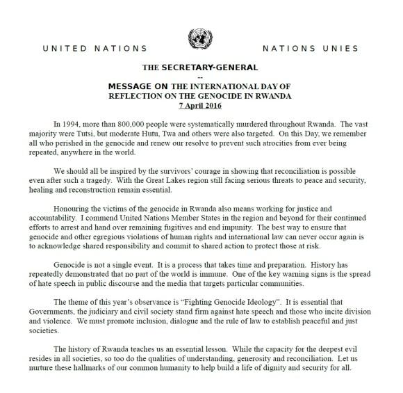 UN 07.04.2016 Rwanda