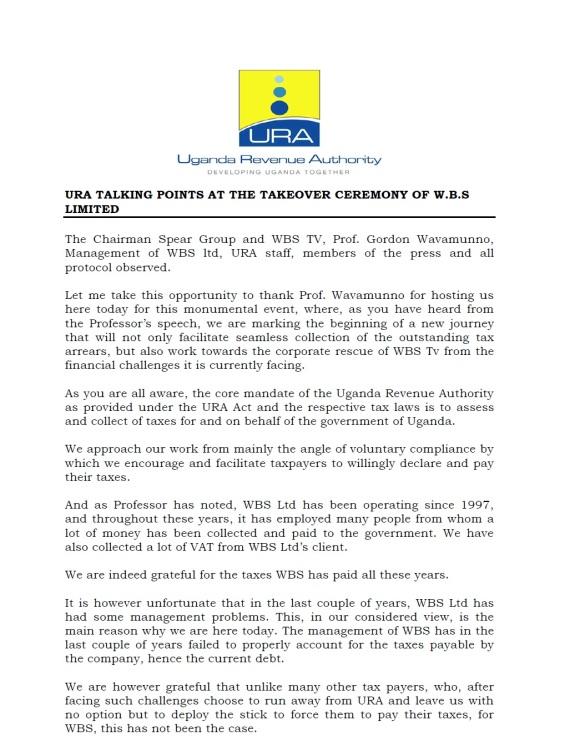 URA WBS Statement P1