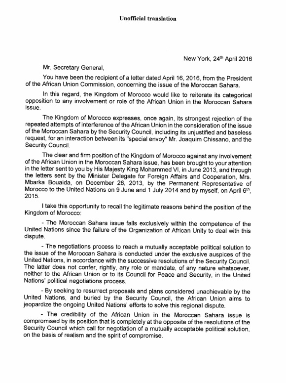 Western Sahara Letter April 2016