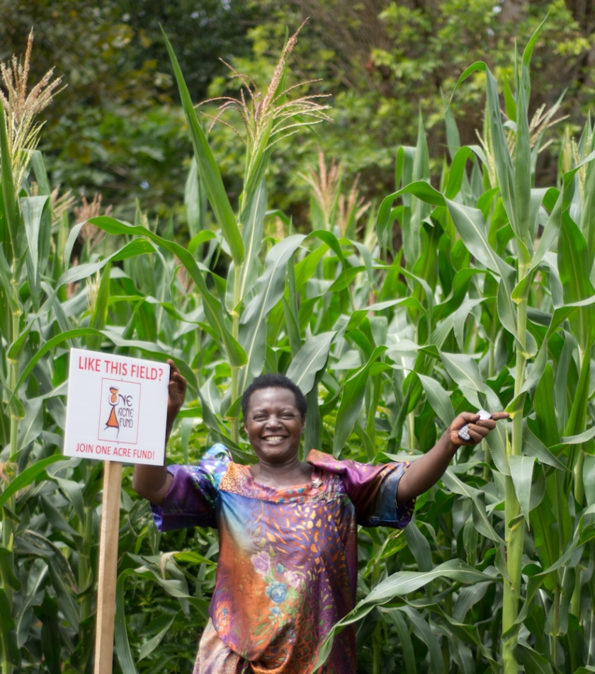 When One Acre Fund requested Elumuka Margaret to provide a small portion of her farm for maize planting demonstration, she was reluctant at first. Now her farm has become a centre of attraction in Busota village, Uganda, and she says she receives atleast two visitors everyday to her farm interested in learning One Acre Fund's maize planting techniques.