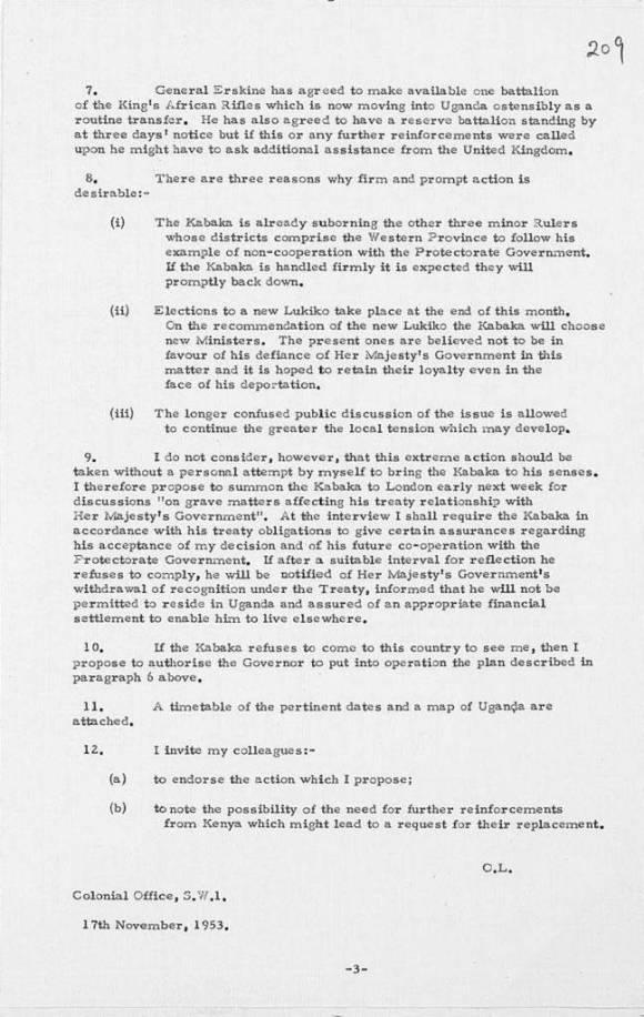 British Government letter 1953 Uganda