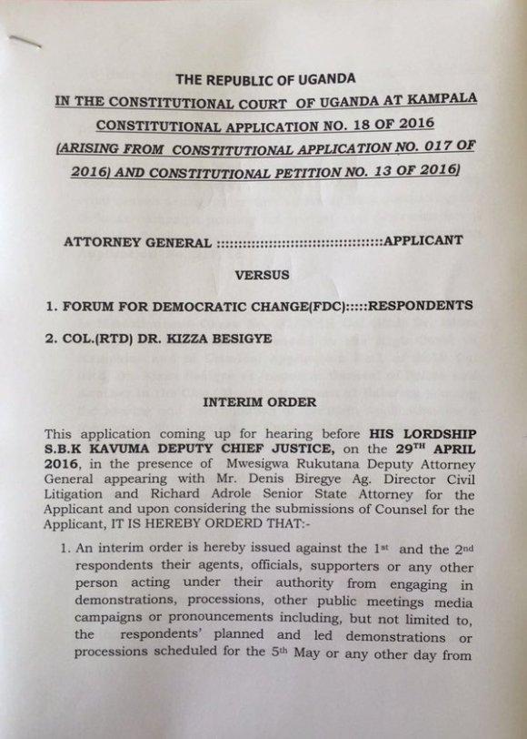 Interim Order Court Uganda April 2016 P1