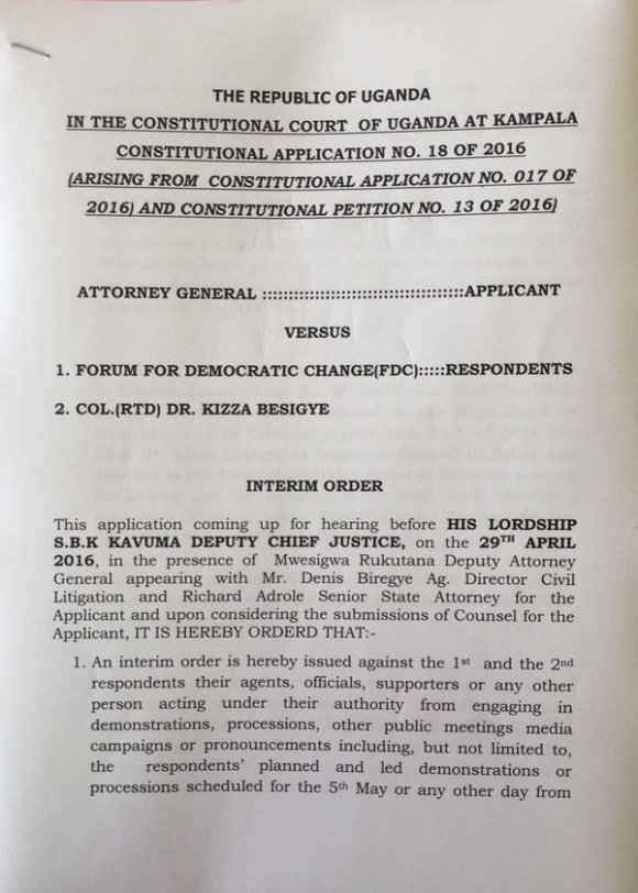 Interim Order Court Uganda April 2016 P1