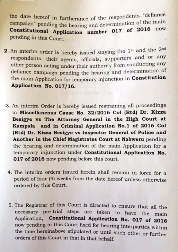 Interim Order Court Uganda April 2016 P2