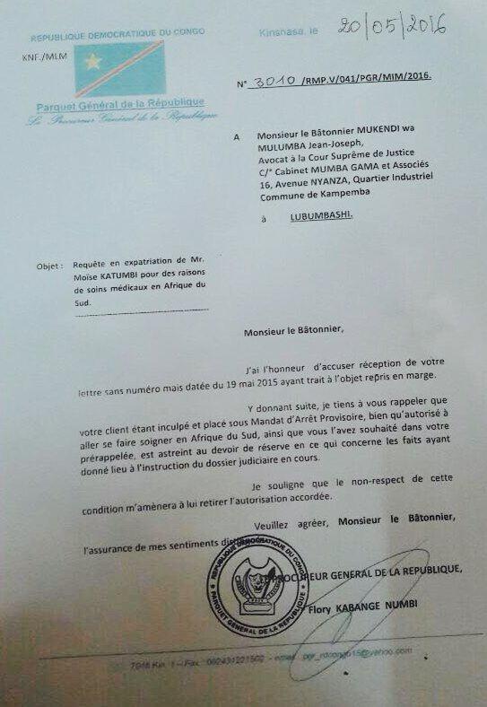 Katumbi 20.05.2016. Letter of State