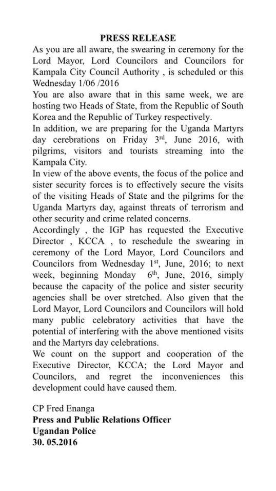 KCCA Swearing in 30.05.2016