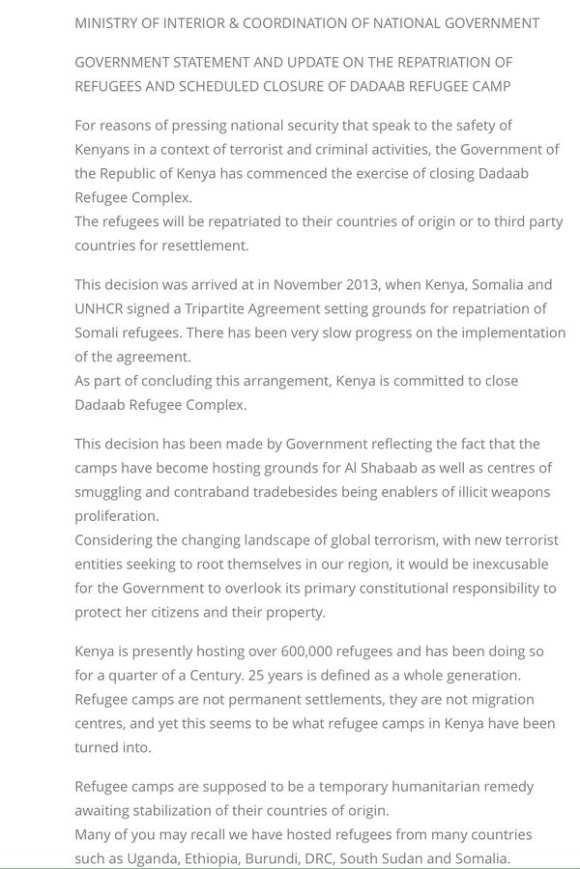 Kenya Ministry of Interior on Refugee Camps PR 2016 P1