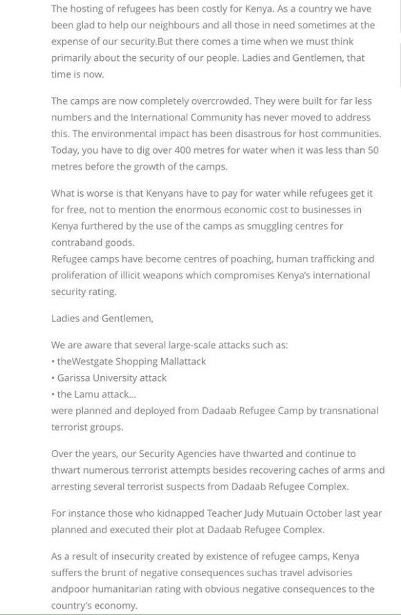 Kenya Ministry of Interior on Refugee Camps PR 2016 P2