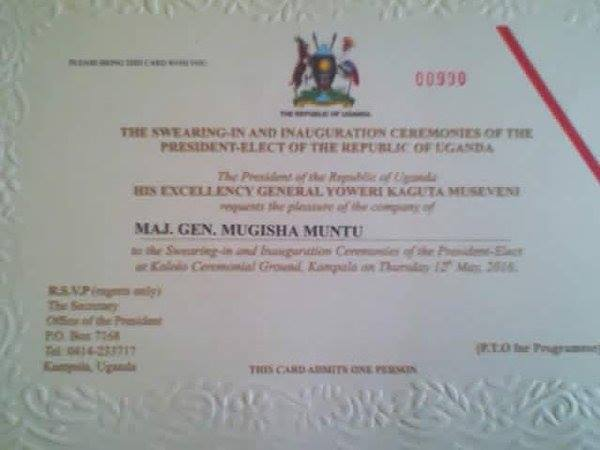 Mugisha Muntu Invitation Swearing in 2016