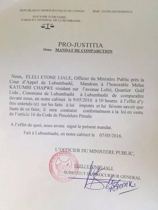 Pro Justicia Moise Katumbi DRC 2016