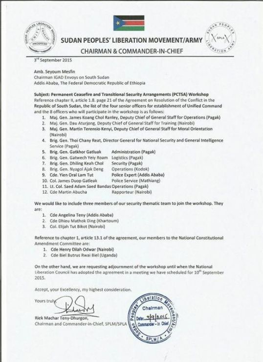 SPLA SPLM Letter Sep. 2015