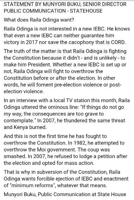 Statement Statehouse Kenya May 2016