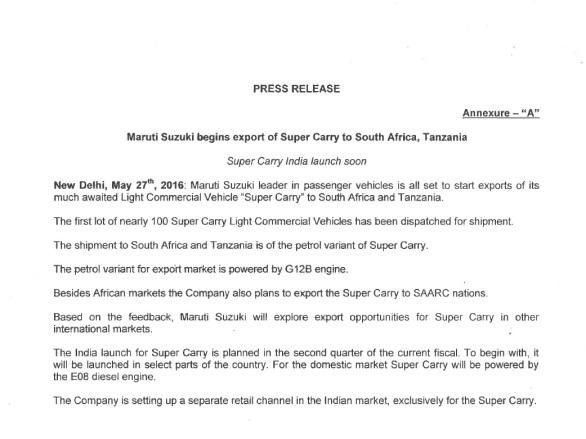 Super Carry Press Release
