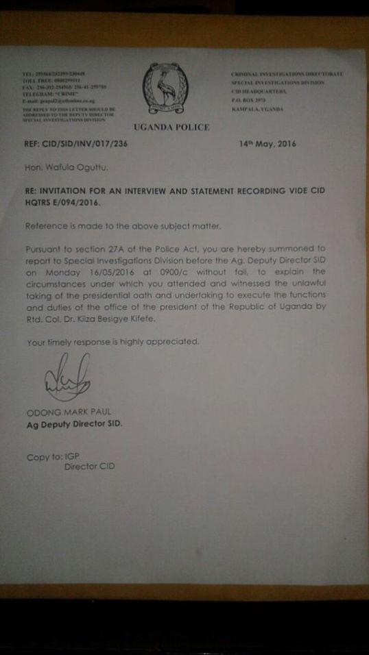 UPF Letter to Wafula Oguttu