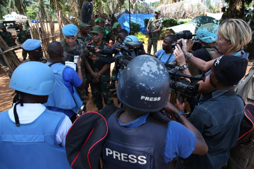 "«Eringeti, North Kivu Province, DR Congo: The MONUSCO Deputy Force Commander, Major General Jean Baillaud and Major General Leo Mushale of the DR Congo Armed Forces, speaking to media, in Kasana camp, on Operation ""Usalama"" against the Allied Democratic Forces (ADF). Photo MONUSCO/Abel Kavanagh»"