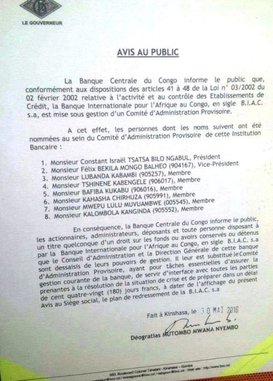 Bank of Congo 30.05.2016