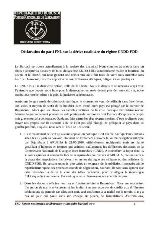 Burundi FNL 05.06.2016 P1