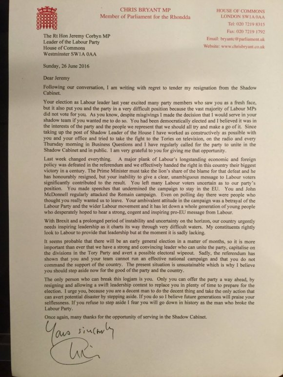 Chris Bryant Letter Resignation Letter