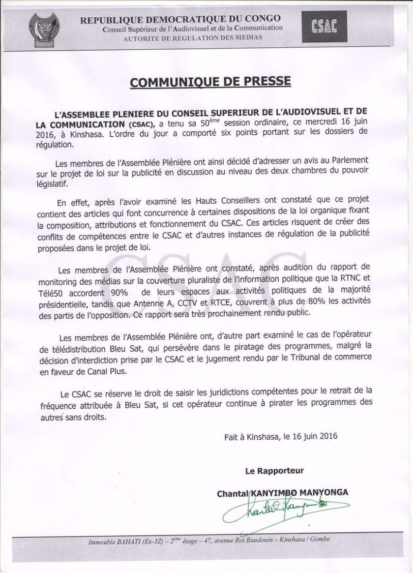 Communique 16.06.2016 RDC