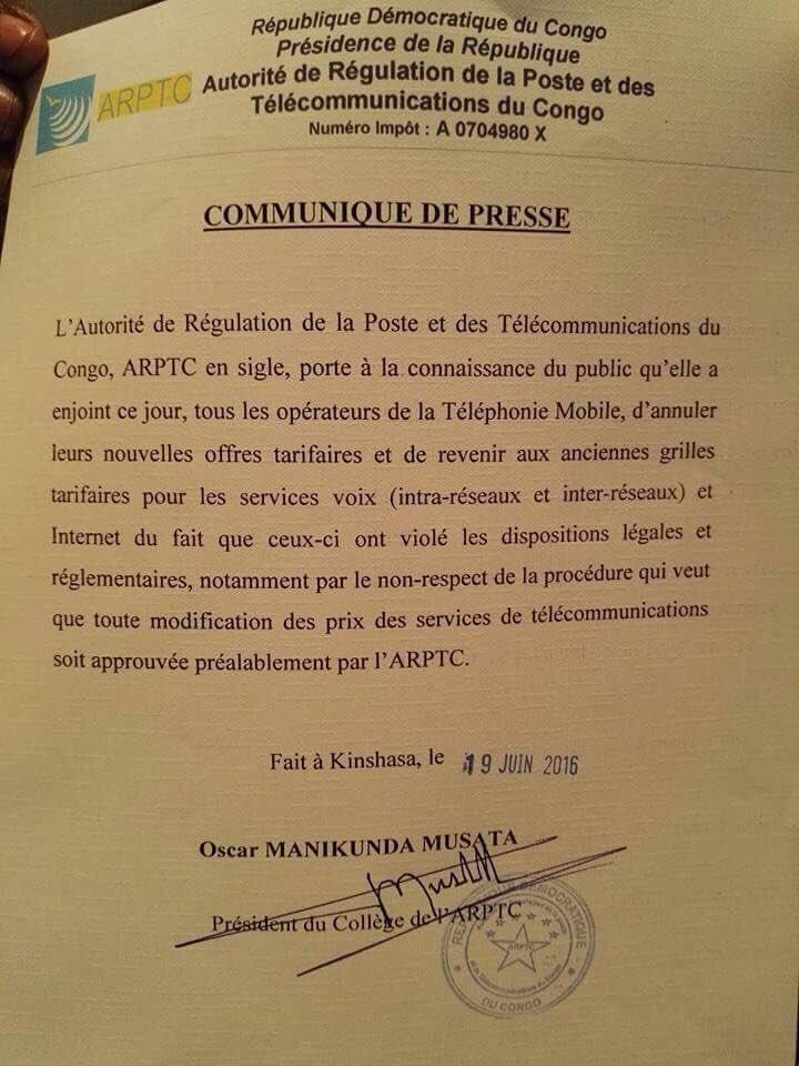 Communique 19.07.2016 Internet DRC