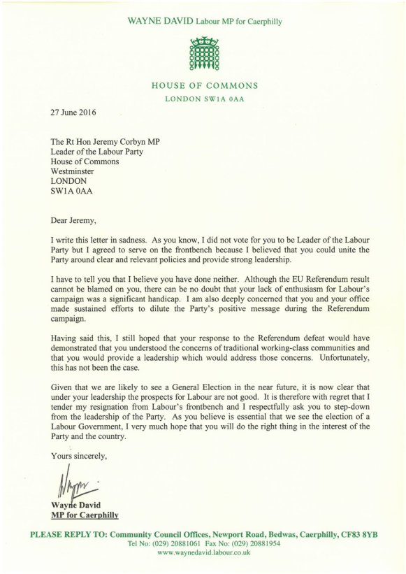 David Wayne Letter MP
