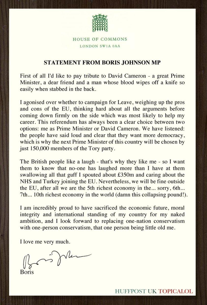 Fake Statement Boris Johnson
