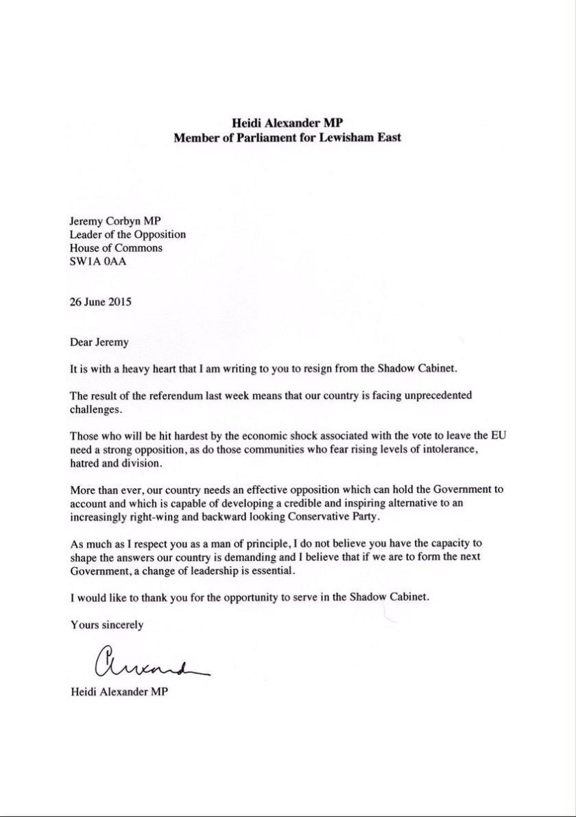 Heidi Alexander MP Letter 26.06.2016