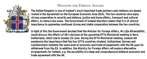 Iceland Foreign Affairs Statement June 2016