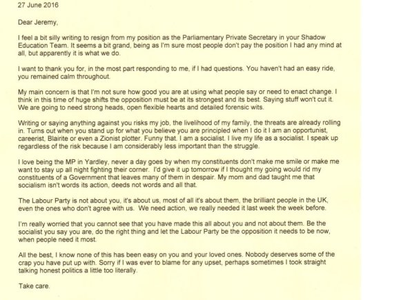 Jess Phillp MP Resignation Letter