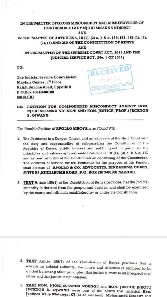 JSC Petition Kenya June 2016 P1