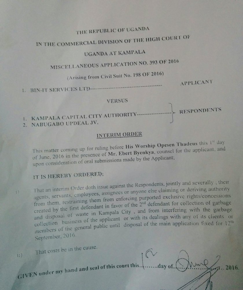 KCCA Interim Order June 2016