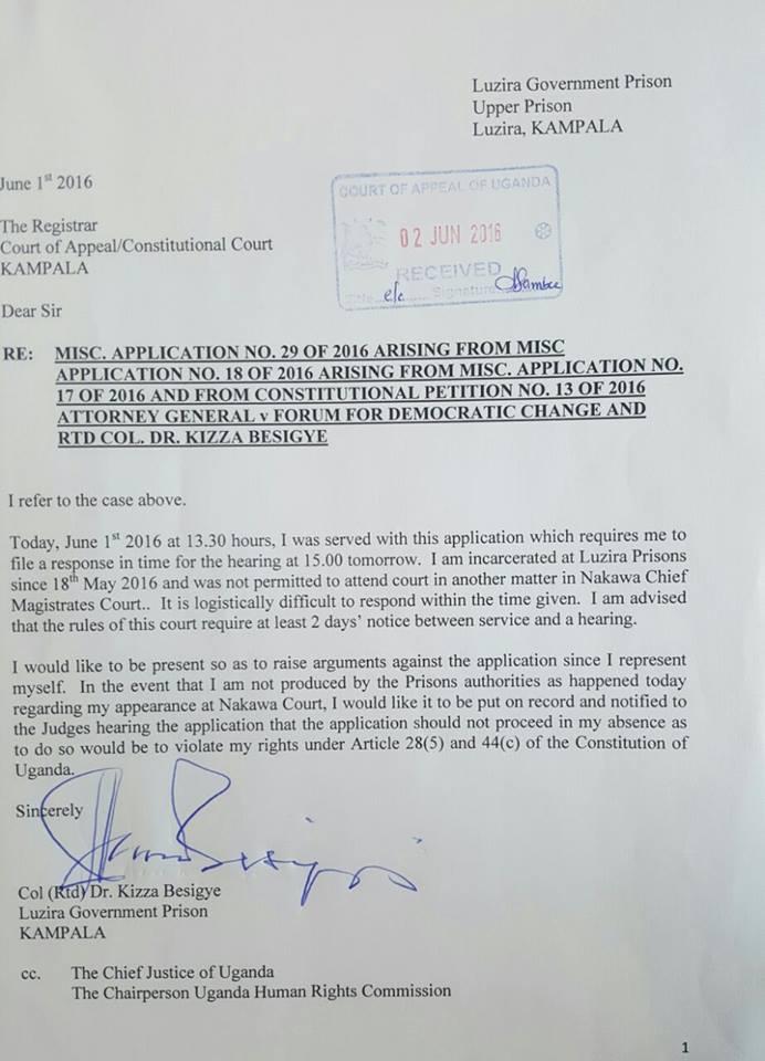 Kizza Besigye 01.06.2016