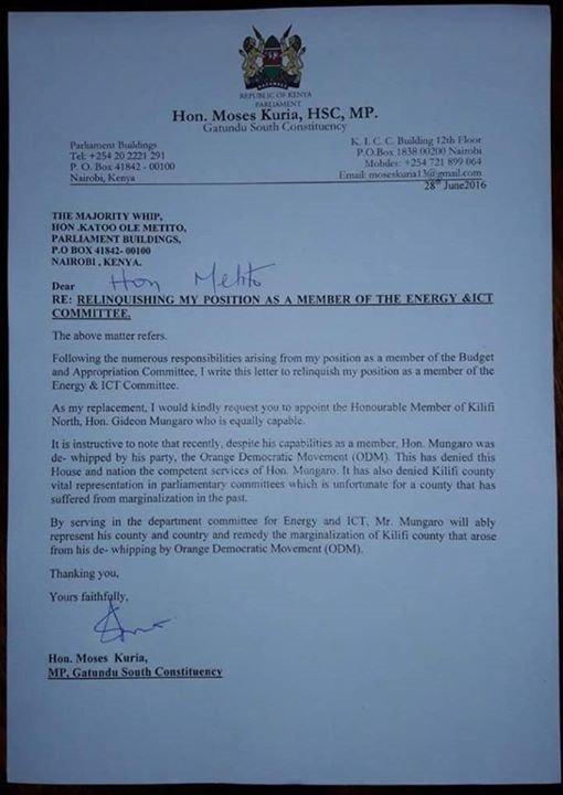 Moses Kuria Letter 26.06.2016